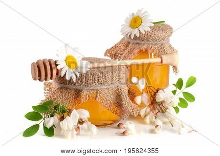 Jar of honey with flowers of acacia and chamomile isolated on white background.