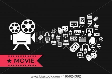 Digital vector red white cinema icons with drawn simple line art info graphic, presentation with screen, movie and old camera projecting elements around promo template, flat style