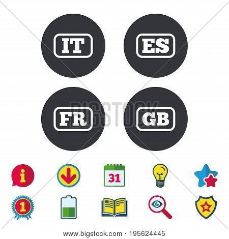 Language icons. IT, ES, FR and GB translation symbols. Italy, Spain, France and England languages. Calendar, Information and Download signs. Stars, Award and Book icons. Light bulb, Shield and Search