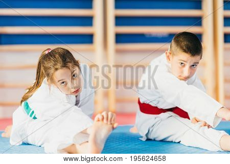Martial Arts Training Class For Children on training indoors toned image color image
