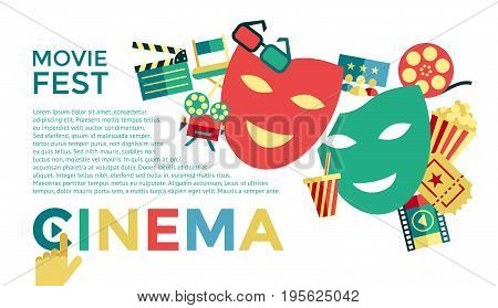 Digital vector blue cinema icons with drawn simple line art info graphic, presentation with movie fest, fun and  mask elements around promo template, flat style