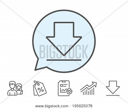 Download line icon. Internet Downloading sign. Load file symbol. Report, Sale Coupons and Chart line signs. Download, Group icons. Editable stroke. Vector