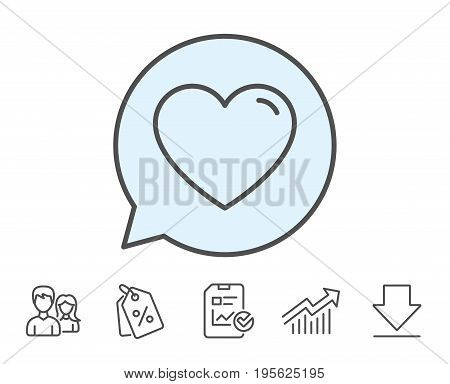 Heart line icon. Love sign. Valentines Day sign symbol. Report, Sale Coupons and Chart line signs. Download, Group icons. Editable stroke. Vector