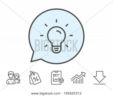 Light Bulb line icon. Lamp sign. Idea, Solution or Thinking symbol. Report, Sale Coupons and Chart line signs. Download, Group icons. Editable stroke. Vector