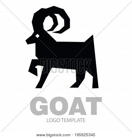 Silhouette stylized drawing goat or nanny - for icon or sign template