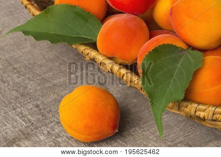 Apricots With Leaves On  Old Wooden Table