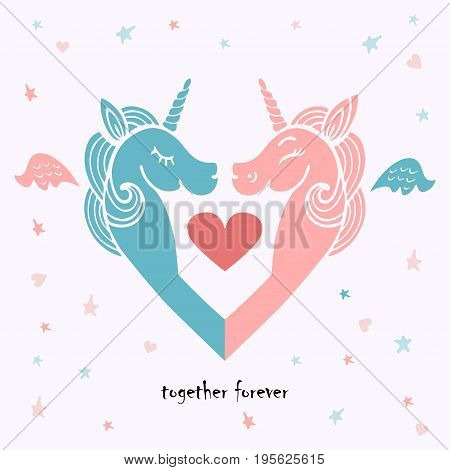Cute template with pink and blue unicorns with wings. It can be used for wedding, invitation, birthday, St. Valentine's Day, party, child birth, greetings.