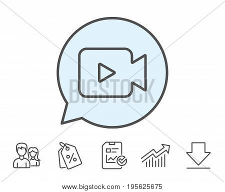 Video Camera line icon. Movie or Cinema sign. Multimedia symbol. Report, Sale Coupons and Chart line signs. Download, Group icons. Editable stroke. Vector