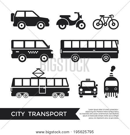 Digital vector black city transport icons set with drawn simple line art info graphic, presentation with car, tram and taxi elements around promo template, flat style