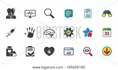 Medicine, medical health and diagnosis icons. Blood, syringe injection and neurology signs. Tooth implant, magnifier symbols. Calendar, Report and Download signs. Stars, Service and Search icons