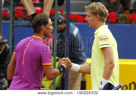 BARCELONA, SPAIN - APRIL, 27:  Rafael Nadal(L) and Kevin Anderson(R) are greeting after a match of Barcelona tennis tournament Conde de Godo on April 27, 2017 in Barcelona Spain