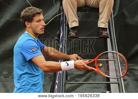 BARCELONA, SPAIN - APRIL, 27:  Spanish tennis player Pablo Carreno Busta in action during a match of Barcelona tennis tournament Conde de Godo on April 27, 2017 in Barcelona Spain