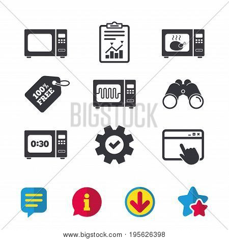 Microwave oven icons. Cook in electric stove symbols. Grill chicken with timer signs. Browser window, Report and Service signs. Binoculars, Information and Download icons. Stars and Chat. Vector