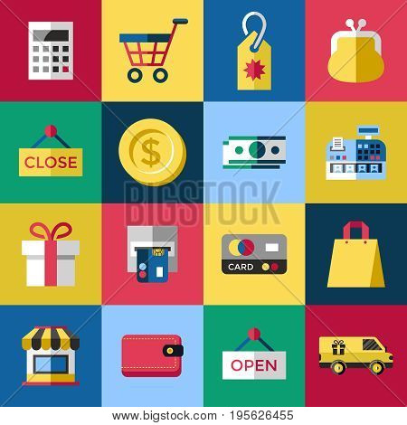 Digital vector blue red shopping sale icons with drawn simple line art info graphic, presentation with money, commerce and economy elements around promo template, flat style