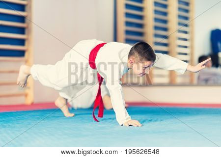 Little Boy In Martial Arts Training Class on training indoors toned image color image