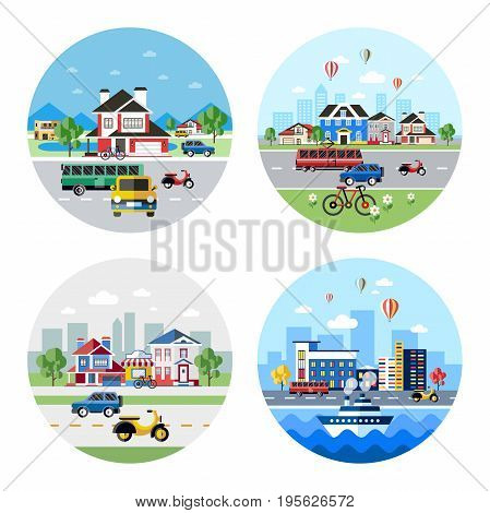 Digital vector blue city transport icons with drawn simple line art info graphic, presentation with car, motorcycle and urban building elements around promo template, round frame, flat style