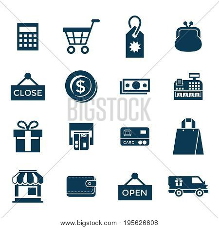 Digital vector blue shopping sale icons with drawn simple line art info graphic, presentation with money, commerce and economy elements around promo template, flat style