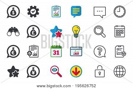 Money bag icons. Dollar, Euro, Pound and Yen speech bubbles symbols. USD, EUR, GBP and JPY currency signs. Chat, Report and Calendar signs. Stars, Statistics and Download icons. Vector
