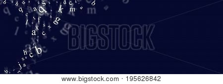 Scattered letters on the digital screen background
