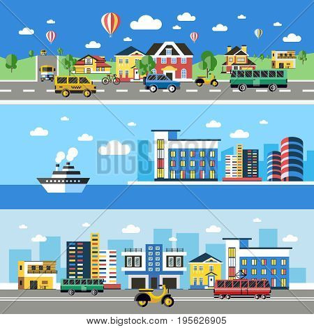 Digital vector blue city transport icons with drawn simple line art info graphic, presentation with car, boat and building elements around promo template, flat style
