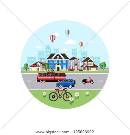 Digital vector blue city transport icons with drawn simple line art info graphic, presentation with car, tram and school building elements around promo template, round frame, flat style