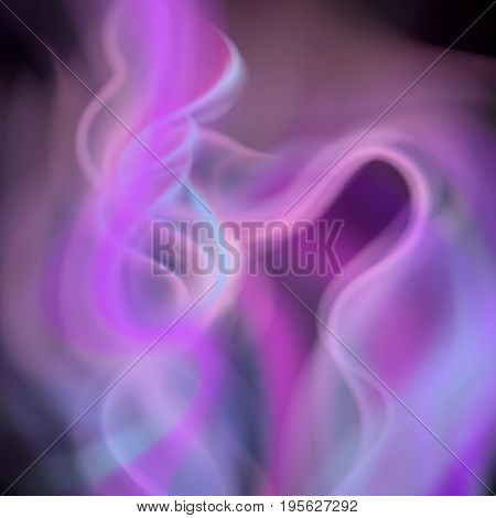 Colorful smoke on black background isolated. abstract realistic lilac violet blue smoke. 3d illustration. vector. created with gradient mesh.