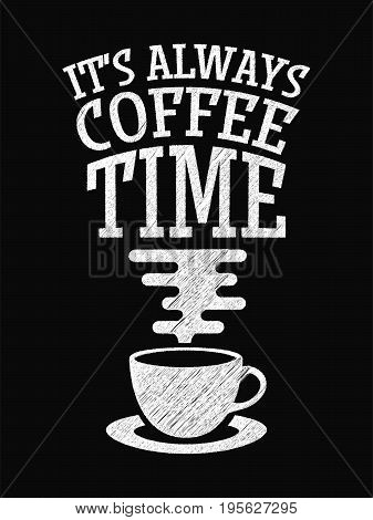 Quote Coffee Poster. It's Always Coffee Time. Chalk Calligraphy Style. Shop Promotion Motivation Ins