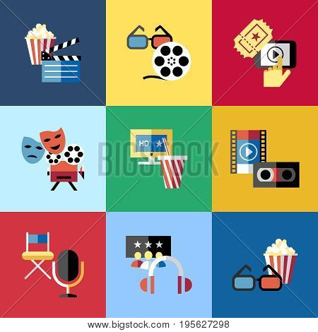 Digital vector red blue 9 cinema icons with drawn simple line art info graphic, presentation with screen, movie and film elements around promo template, flat style