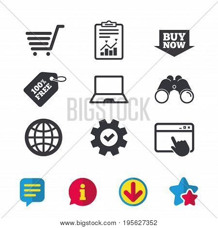Online shopping icons. Notebook pc, shopping cart, buy now arrow and internet signs. WWW globe symbol. Browser window, Report and Service signs. Binoculars, Information and Download icons. Vector