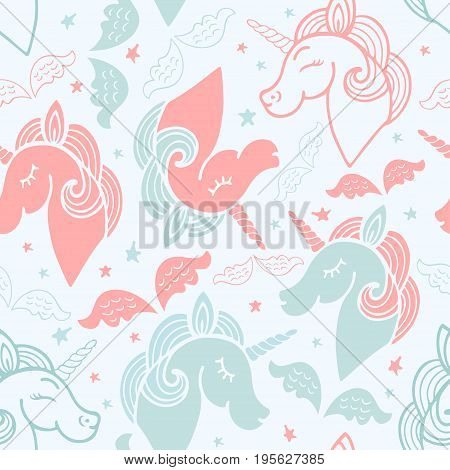 Seamless pink and blue pattern with cute unicorn, wings and stars.