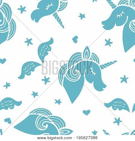 Seamless pattern with blue unicorn, wings and stars.