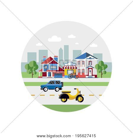 Digital vector blue city transport icons with drawn simple line art info graphic, presentation with car, motorcycle and shop building elements around promo template, round frame, flat style
