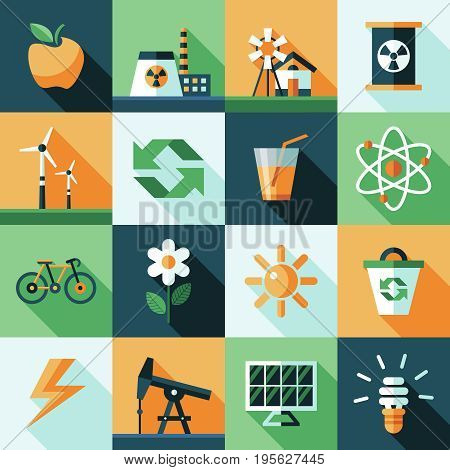 Digital vector yellow green ecology icons with drawn simple line art info graphic, presentation with recycle, production and alternative energy elements around promo template, flat style
