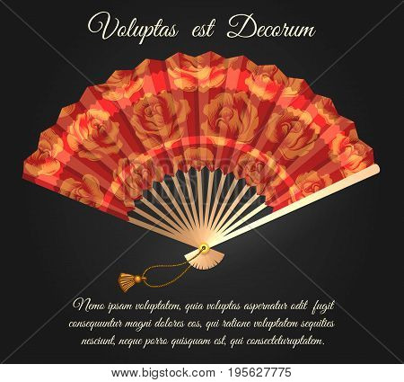 Rose flowers chinese folding fan poster. Opened fan with roses pattern vector isolated on black background