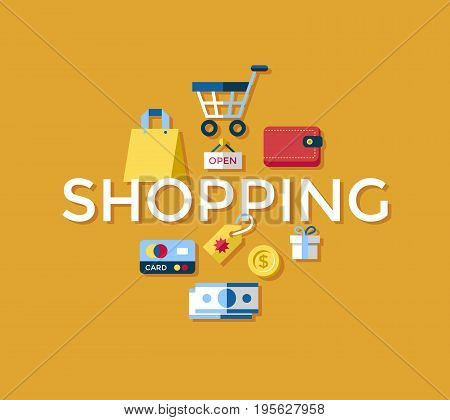 Digital vector yellow shopping sale icons with drawn simple line art info graphic, presentation with money, commerce and economy elements around promo template, flat style