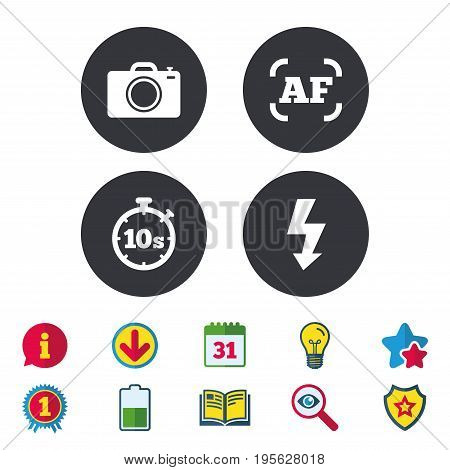 Photo camera icon. Flash light and autofocus AF symbols. Stopwatch timer 10 seconds sign. Calendar, Information and Download signs. Stars, Award and Book icons. Light bulb, Shield and Search. Vector
