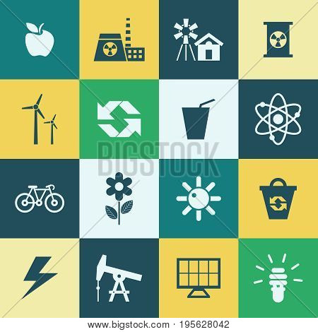 Digital vector green ecology icons with drawn simple line art info graphic, presentation with recycle, production and alternative energy elements around promo template, flat style