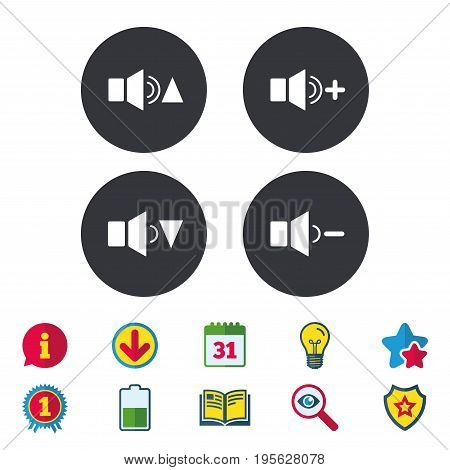 Player control icons. Sound louder and quieter signs. Dynamic symbol. Calendar, Information and Download signs. Stars, Award and Book icons. Light bulb, Shield and Search. Vector
