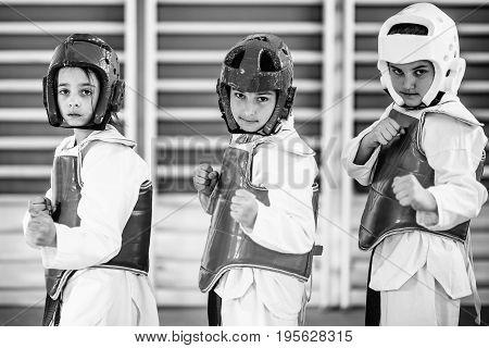 Taekwondo Kids Posing On Training Indoors, Black And White Image