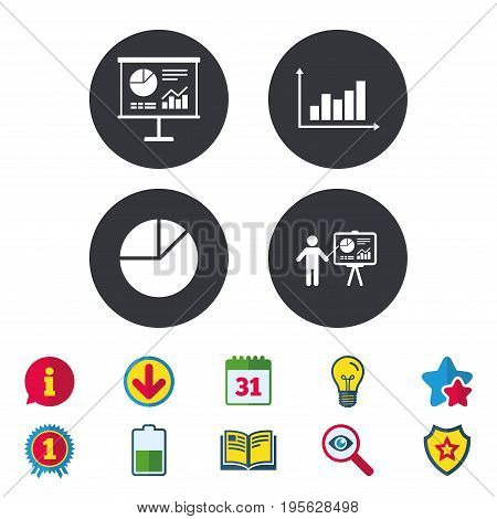 Diagram graph Pie chart icon. Presentation billboard symbol. Supply and demand. Man standing with pointer. Calendar, Information and Download signs. Stars, Award and Book icons. Vector