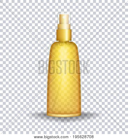 Sun block Container. Sun care oil transparent bottle. Vector illustration EPS 10