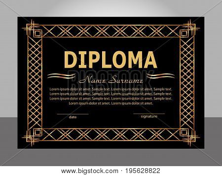 Retro vintage diploma. Golden and black template. Vector illustration.