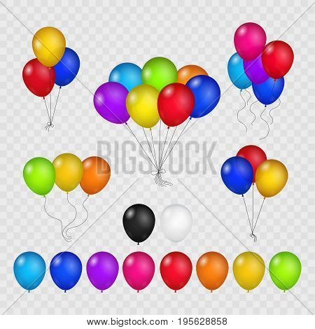 Colored balloons isolated on transparent background. Flying helium brightly air balloon set for birthday party vector illustration
