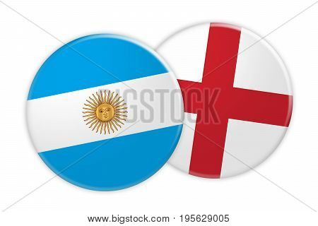 News Concept: Argentina Flag Button On England Flag Button 3d illustration on white background