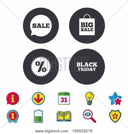 Sale speech bubble icon. Discount star symbol. Black friday sign. Big sale shopping bag. Calendar, Information and Download signs. Stars, Award and Book icons. Light bulb, Shield and Search. Vector