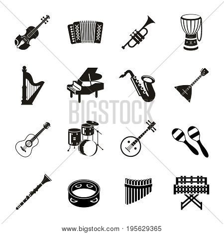 Digital vector black music instruments icons with drawn simple line art info graphic, presentation with guitar, piano, drums and sound elements around promo template, flat style