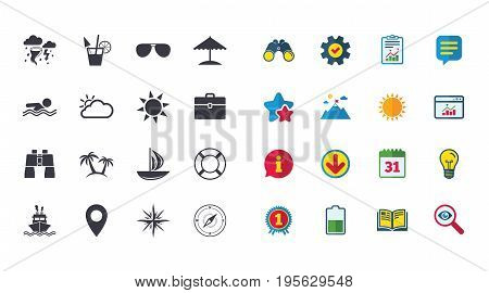 Set of Travel and Cruise icons. Ship, Yacht and Lifebuoy signs. Binoculars, Windrose and Storm symbols. Sun, Swimming and Sunglasses. Calendar, Report and Browser window signs. Vector