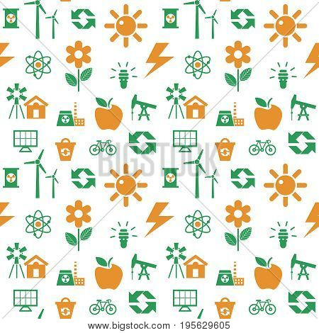 Digital vector orange green ecology icons with drawn simple line art info graphic, seamless pattern, presentation with recycle, production and alternative energy elements around template, flat style