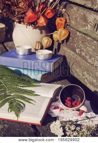 stillife with book flowers and raspberries on a wooden background