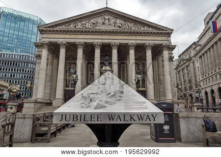 LONDON, ENGLAND - JUNE 18, 2016: The Royal Exchange in city of London, England, Great Britain